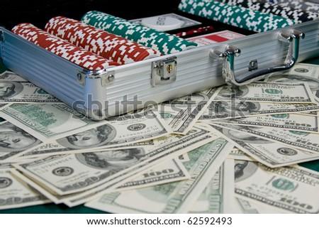 Poker Playing Set over US Dollars