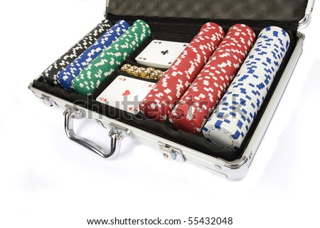 Poker set in metal suitcase isolated on white
