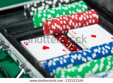 Poker set in metal suitcase. Risky entertainment of gambling