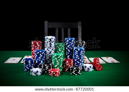 Poker table ready for player