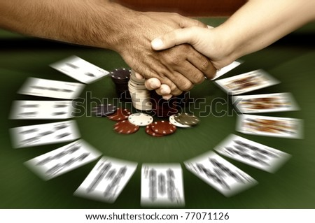 Poker table with cards ans chips