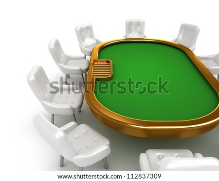Poker table with chairs isolated on white