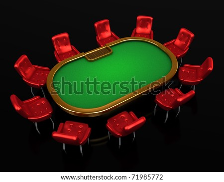 Poker table with chairs top isometric view isolated on black 	Poker table with chairs top isometric view isolated on black