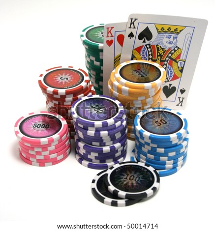 Poker texas hold'em chips and cowboys cards isolated on white background
