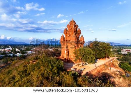 Poklongarai champa tower. Old Brick cham towers in Phan Rang, landmark Vietnam. Asia Travel concept. Journey through Vietnam Concept