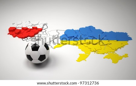 Poland and Ukraine national map, with flags, Euro 2012.