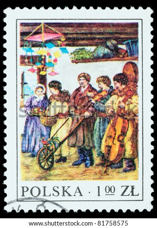 POLAND - APPROXIMATELY 1977: The stamp printed in POLAND shows trade at the market, approximately 1977