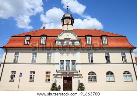 "Poland - architecture in Kornik. Greater Poland province (Wielkopolska). Town Hall building - the red signs say ""Town Hall in Kornik"" and ""Civil registry in Kornik""."