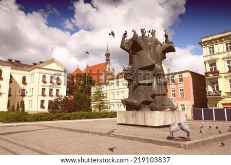 Poland - Bydgoszcz, city in Kuyavia (Kujawy) region. Old town square - Rynek. Cross processed color tone - retro filtered style.