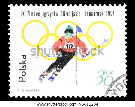 "POLAND - CIRCA 1964: A post stamp printed in Poland shows a Slalom with the inscription ""IX Winter Olympic Games, Insbruck, 1964"" from the series ""Winter Olympic Games, Insbruck"", circa 1964"