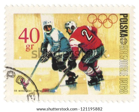 POLAND - CIRCA 1968: A post stamp printed in Poland shows ice hockey, devoted to the Olympic Winter Games in Grenoble, series, circa 1968