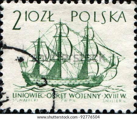 POLAND - CIRCA 1963: A post stamp printed in Poland  shows Ship of the line,18th century, circa 1963