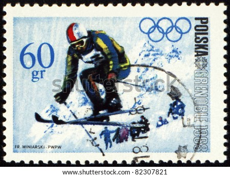 POLAND - CIRCA 1968: A post stamp printed in Poland shows ski jumper, dedicated to the Olympic Winter Games in Grenoble, series, circa 1968