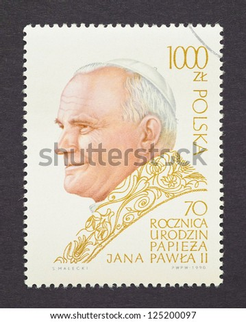 POLAND - CIRCA 1990: a postage stamp printed in Poland showing an image of Pope John Paul II, circa 1990.
