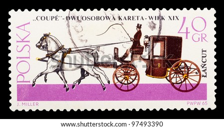 "POLAND - CIRCA 1965: a stamp printed by POLAND shows ""COUPE"" Dwuosobowa kareta-weik XIX w J.Mille, series, circa 1965"