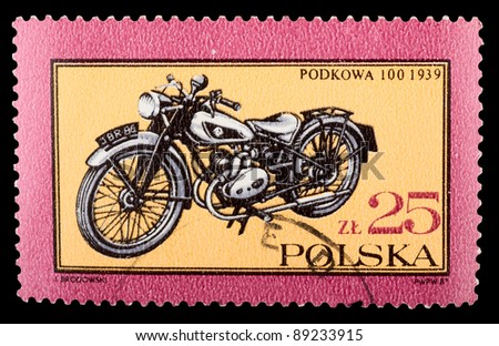 POLAND - CIRCA 1987: A stamp printed by POLAND shows old motorcycle, series, circa 1987