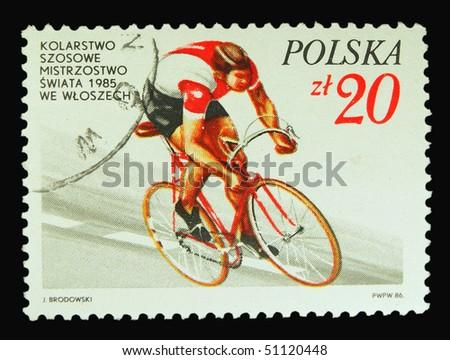 POLAND - CIRCA 1985: A stamp printed in Poland showing biker circa 1985