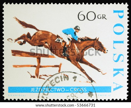 POLAND - CIRCA 1967: a stamp printed in Poland showing horse with joceky, circa 1967