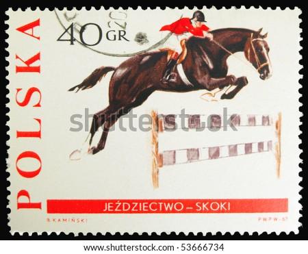POLAND - CIRCA 1967: a stamp printed in Poland showing horse with joceky, circa 1967