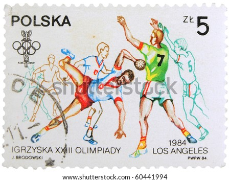 POLAND - CIRCA 1984: A stamp printed in Poland showing Olympic games in Los Angeles - handball players, circa 1984