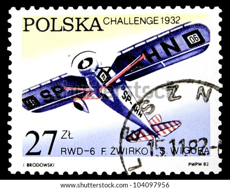 "POLAND - CIRCA 1982: A stamp printed in Poland) shows aircraft with the inscription ""RWD 6"", from the series ""50th Anniversary of Polish Victory in Tourist Aircraft Challenge Competition"", circa 1982"