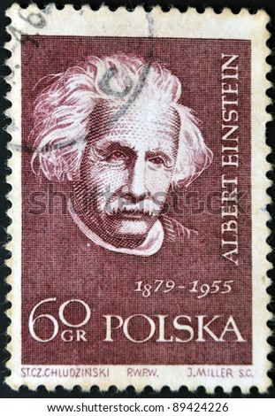 POLAND - CIRCA 1959: A stamp printed in Poland shows an image of Albert Einstein (1879-1955), circa 1959