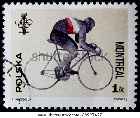 POLAND-CIRCA 1976: A stamp printed in Poland shows bicycling, devoted 21st Olympic Games in Montreal, series, circa 1976