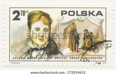 POLAND - CIRCA 1975: A stamp printed in Poland shows Helena Modrzejewska (1840-1909), Polish actress, came to US in 1877, circa 1975