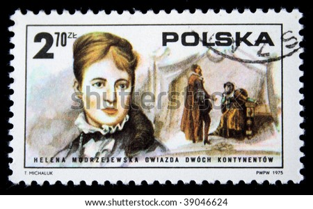 POLAND - CIRCA 1975: A stamp printed in Poland shows Helena Modrzejewska star of both continents, circa 1975