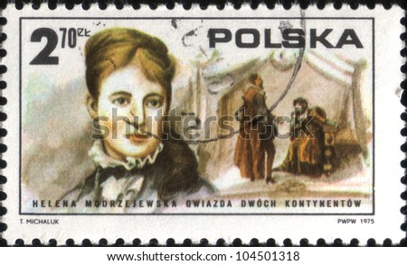 POLAND - CIRCA 1975: A stamp printed in Poland shows Helena Modrzejewska, star of two continents, circa 1975