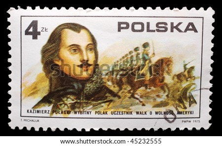 "POLAND - CIRCA 1975: A stamp printed in Poland shows image of Casimir Pulaski, the famous Polish soldier known as the ""father of the American cavalry"", circa 1975"