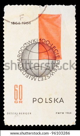 Poland - CIRCA 1964: A stamp printed in Poland shows image of national flags, circa 1964