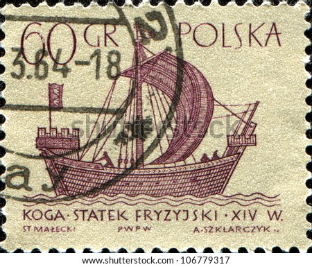 POLAND CIRCA 1963 A stamp printed in POLAND shows koga merchant ship series circa 1963