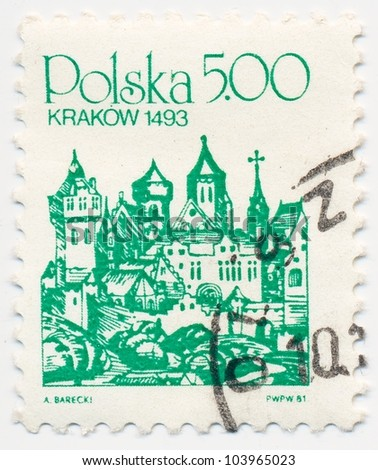 POLAND - CIRCA 1981: A stamp printed in Poland, shows Krakow, circa 1981