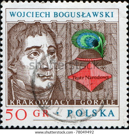 POLAND - CIRCA 1980: A stamp printed in Poland shows portrait of Polish actor, theater director and playwright Wojciech Boguslawski, series honoring People\'s teather, circa 1980