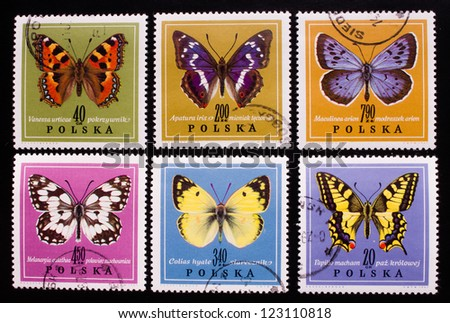 POLAND - CIRCA 1967: A stamp printed in Poland shows six kinds of butterflies in different colors,circa 1967
