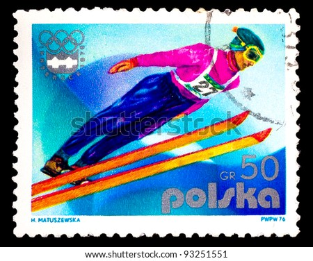 POLAND - CIRCA 1976: A stamp printed in Poland shows ski jumper, skier athlete, series devoted Olympic games in Innsbruck 1976, circa 1976