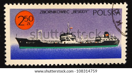 POLAND - CIRCA 1980: A stamp printed in Poland shows Steamship, circa 1980