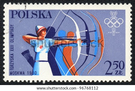 POLAND - CIRCA 1980: A stamp printed in POLAND shows Target archery, from series, circa 1980