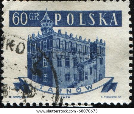 POLAND - CIRCA 1958: A stamp printed in Poland shows Tarnow city hall, circa 1958
