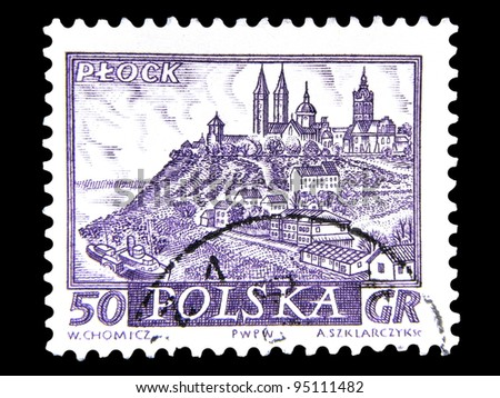 "POLAND - CIRCA 1960: A stamp printed in Poland shows view the main sights of the city in ancient times with the inscription ""Plock"", from the series ""Historical cities of Poland"", circa 1960"