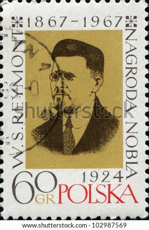 POLAND - CIRCA 1967: A stamp printed in Poland shows Wadysaw Stanisaw Reymont was a Polish novelist and the 1924 laureate of the Nobel Prize in Literature, circa 1967 - stock photo