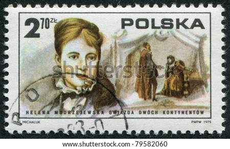 POLAND - CIRCA 1975: A stamp printed in the Poland, shows actress Helena Modjeska (Modrzejewska) and a scene from Shakespeare, circa 1975