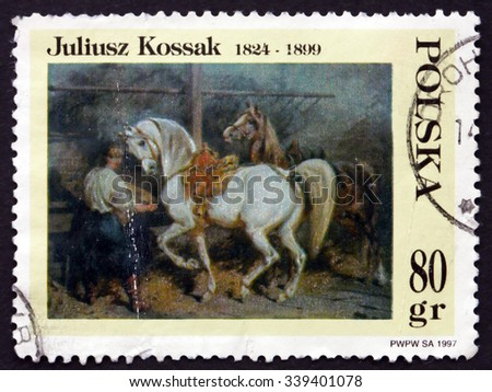 POLAND - CIRCA 1997: a stamp printed in the Poland shows Feeding Horses in Stable, Painting by Juliusz Kossak, circa 1997