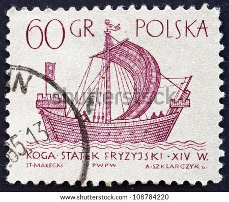 POLAND - CIRCA 1963: a stamp printed in the Poland shows Frisian 'Kogge', Ancient Ship, circa 1963