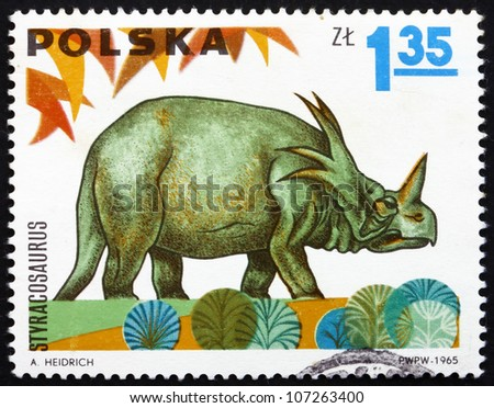 POLAND - CIRCA 1965: a stamp printed in the Poland shows Styracosaurus, Dinosaur, circa 1965