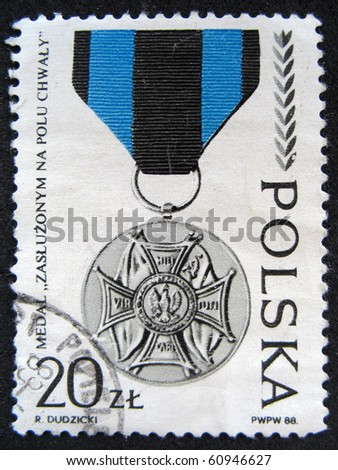 POLAND - CIRCA 1988: A Stamp printed in the POLAND shows theMedal of Distinguished on the battlefield, circa 1988