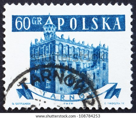 POLAND - CIRCA 1958: a stamp printed in the Poland shows Town Hall, Tarnow, Poland, circa 1958 - stock photo