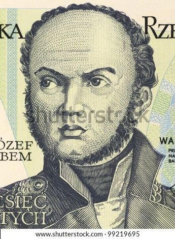POLAND - CIRCA 1982: Josef Bem (1794-1850) on 10 Zlotych 1982 Banknote from Poland. Polish general national hero of Poland and Hungary. - stock photo