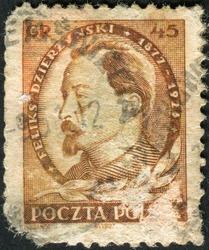 POLAND - CIRCA 1951: Postage stamp printed in Poland, shows portrait of Feliks Dzierzynski